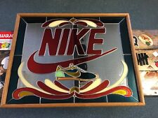 """VINTAGE NIKE MIRROR RARE STAINED GLASS HAND MADE 1981 29""""x23"""""""