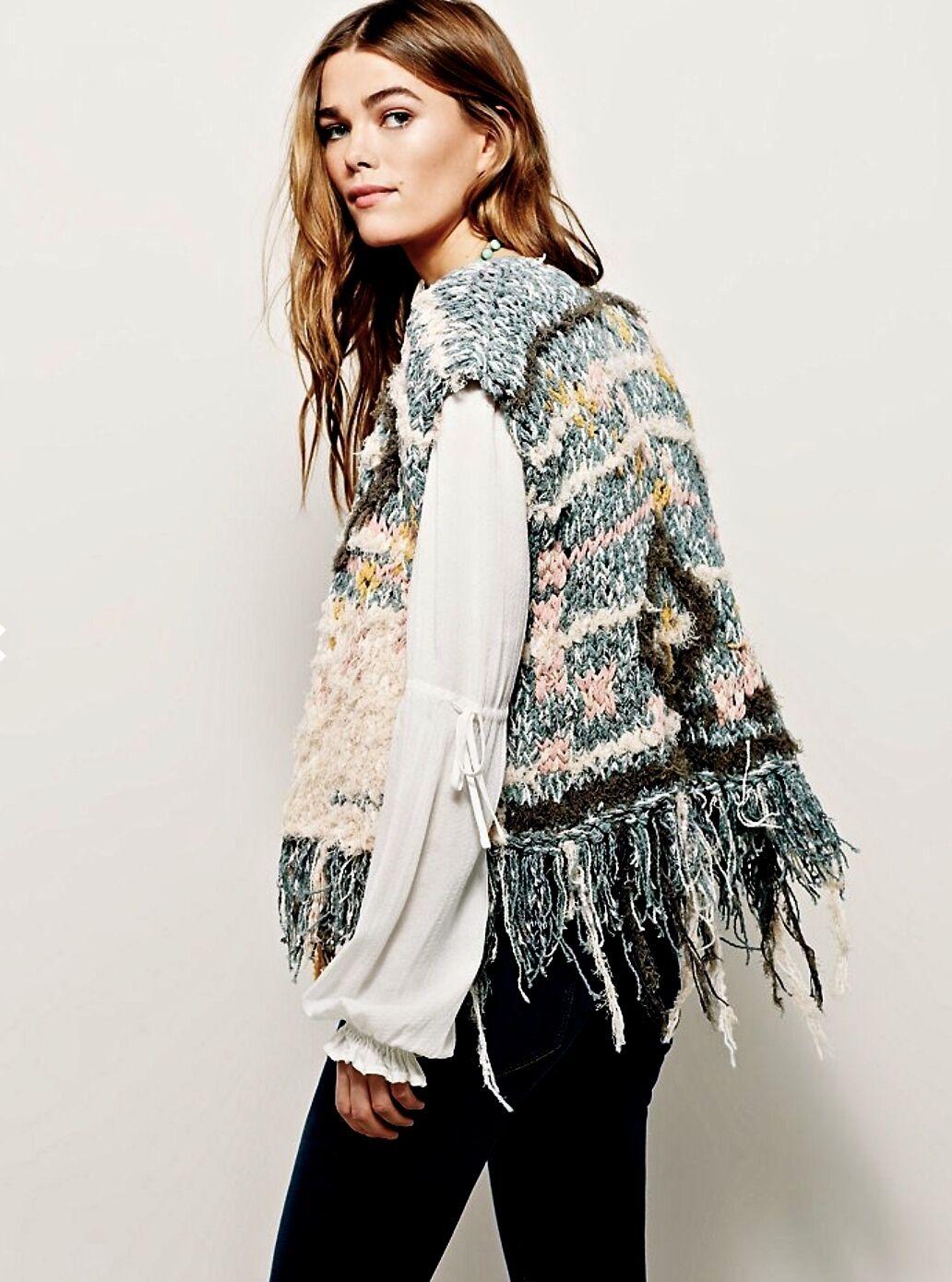 NWT Free People muted green bluesh tan shaggy fringed Sweater Vest M