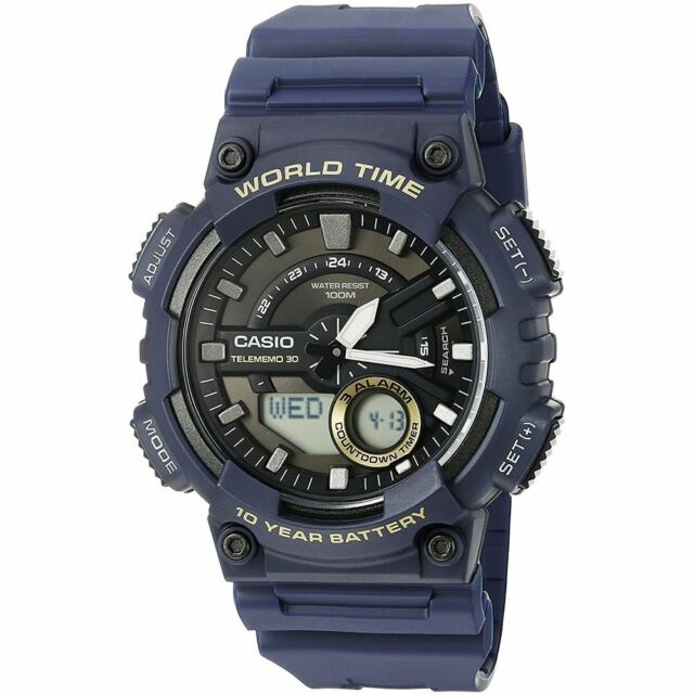 Casio Blue Mens Resin Analogue Watch Alarm Stopwatch World Time AEQ-110W-2AVEF
