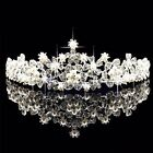 Bridal Flower Rhinestone Crystal Pearl Crown Tiara Veil Prom Wedding Pageant