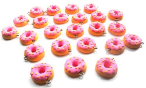 10 PINK DONUT CHARMS POLYMER FIMO BEADS BEAUTIFUL