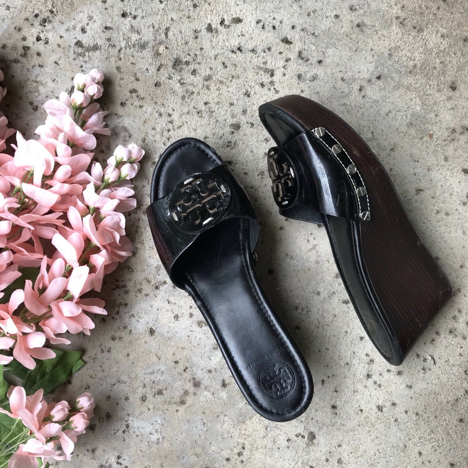 TORY BURCH Patti Black Wedge Sandal shoes Sz 9.5