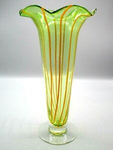 Hand-Blown-Art-Glass-Green-Yellow-Swirl-Stripes-Ruffle-Rim-Tall-Vase-12-034