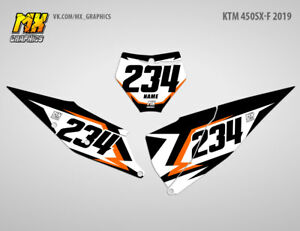 Backgrounds Number Plate Graphics Decals Ktm Sx F 450 2019 Sxf450 Ebay