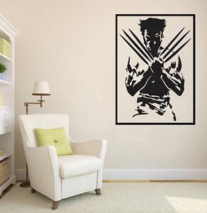 Detalles De Vinilo Decorativo Pared Salón Decoración Wolverine Hombre Lobo Decal Vinilos