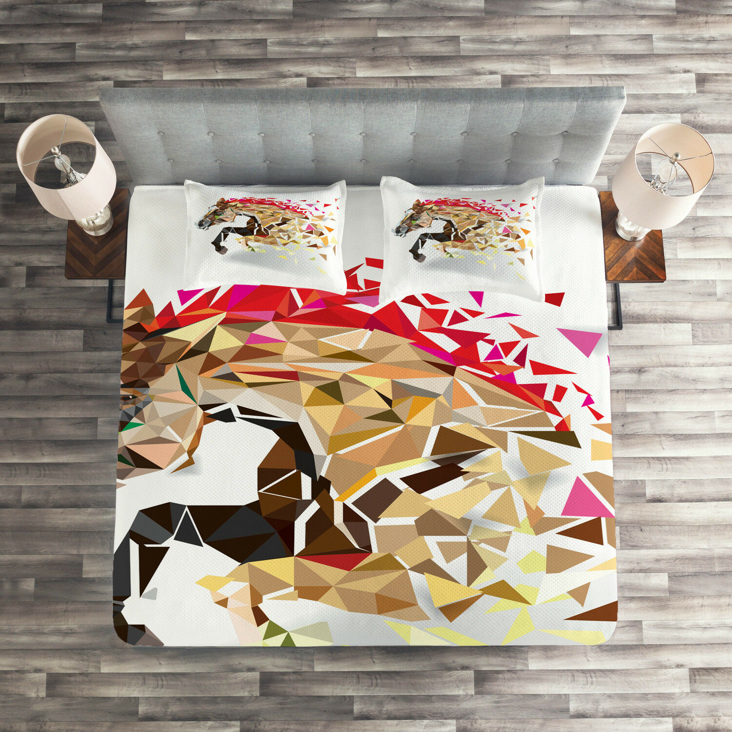 Animal Quilted Coverlet & Pillow Shams Set, Abstract Art Wild Horse Print