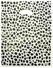 100 Plastiktüten Tragetaschen Einkauf im Dalmatiner Look 40x33cm Weiß/Schwarz