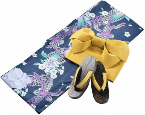 Details about  /2020 S//S Japanese Womens Yukata Pre-tied Obi Footwear Set BLK//NVY Japan Tracking