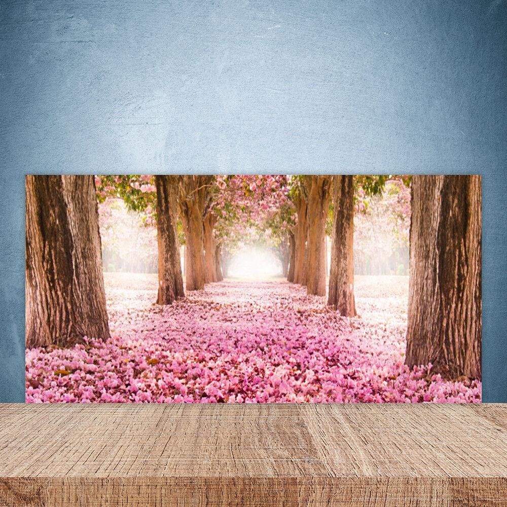 Crédence de cuisine en verre Panneau Paroi 100x50 Nature Chemin Troncs D'arbres
