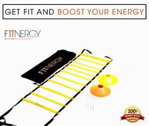 Speed-AGILITY-LADDER-Training-Equipment-by-F1TNERGY-12-Rung-10-Speed-Cones