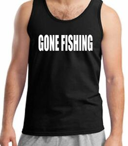 Fishing Vest Gone Fising Tank Top T-Shirt Angling Rod And Reel