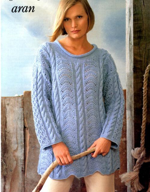 Womens Lace And Cable Tunic Sweater Aran Knitting Pattern 99p Ebay