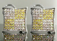 $150 Mens Canary Yellow Simulated Diamond Earrings Micropave Hip Hop Bling