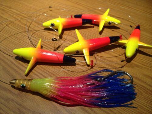 "Machine Lure Hook Bait 5 Colors 5/"" Tuna Bird Teaser Chain  5 BIRDS !"