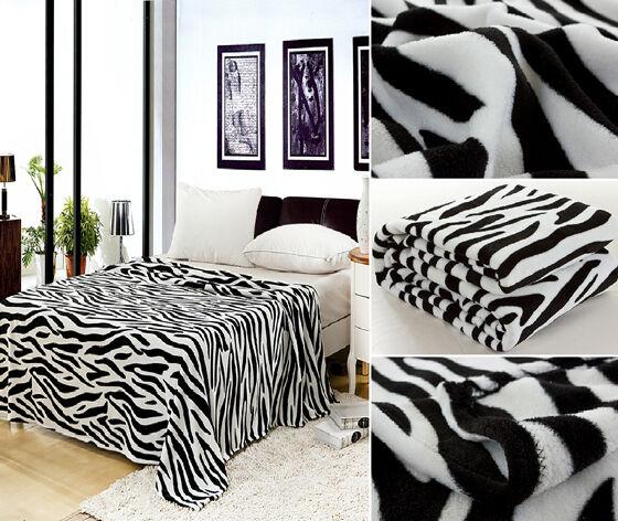 Zebra Animal Black White Blanket Bedding Throw Fleece Queen Super Soft Safari