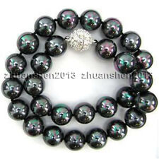 """10mm Rainbow Black Round South Sea Shell Pearl Fashion Necklace 18"""" AAA"""