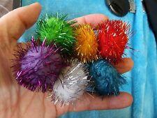 SET OF 6 TINSEL GLITTER POMPOM CAT OR KITTEN BALLS TOYS SOLD FOR MIKA VET BILLS