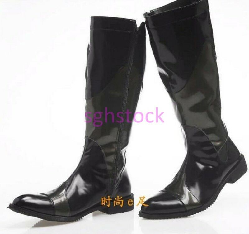 Mens Pointy toe PU Leather Side Zipper Knee High Boots Military shoes Outdoor US