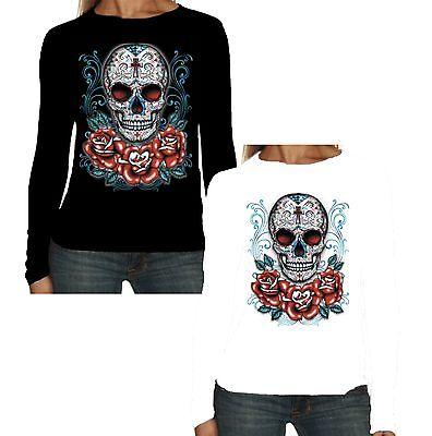 Velocitee Ladies Long Sleeve T-Shirt Pretty Sugar Skull Tattoo Evil Goth W17045