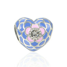 BLUE & PINK PUFFY HEART w Crystal .925 Sterling Silver European Charm Bead