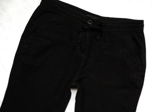BNWT Nuovo Donna Nero NEXT Parallelo Dritto Gamba Pantaloni misto lino Petite