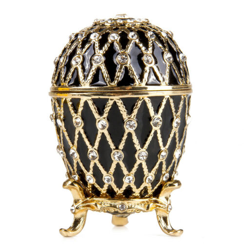 Russian Faberge Egg Replica Made Russia Gold Netting Jewelry Box Easter Gift Box