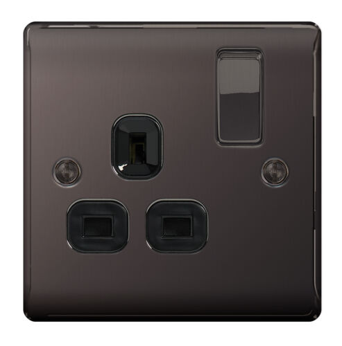 BLACK NICKEL Chrome Single Plug Socket 1 Gang 13A 5 x BG Nexus Metal NBN21B