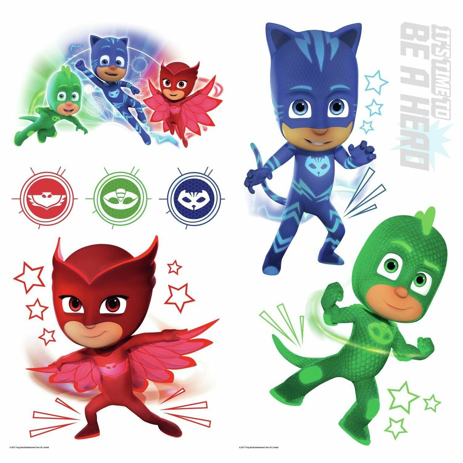 New Pj Masks Stickers Glow In Dark 8 Wall Decals Catboy Owlette Gekko Room Decor For Sale Online