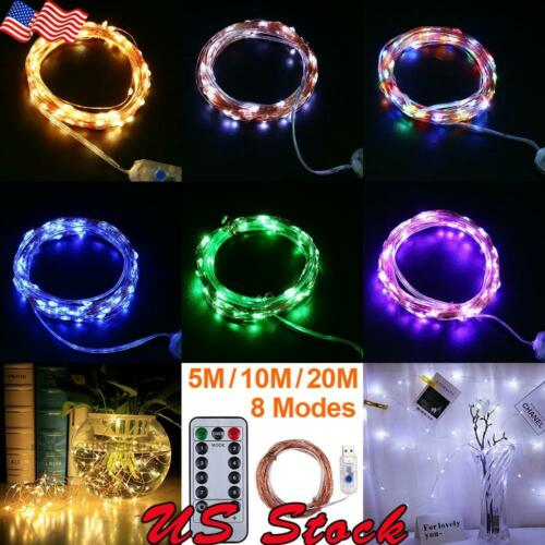 Copper Wire LED String Lights Battery USB Power Waterproof 5M 10M 20M 50-200LEDs