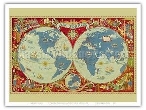 World map air france lucien boucher 1950 vintage airline travel image is loading world map air france lucien boucher 1950 vintage gumiabroncs Images