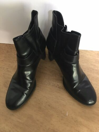 DOCKERS Black Synthetic Harness Biker Ankle Boots