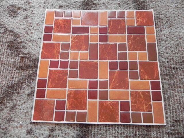 10 X 10 Vinyl Peel Stick Mosaic Tile In Brown Beige Burgundy Qty 30 Ebay