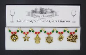 Christmas-Set-of-6-Gold-Wine-Glass-Charms-Handmade-Just-for-You-Set-2