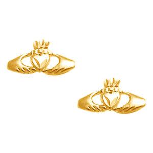 14k Yellow Gold Claddagh Stud Earrings