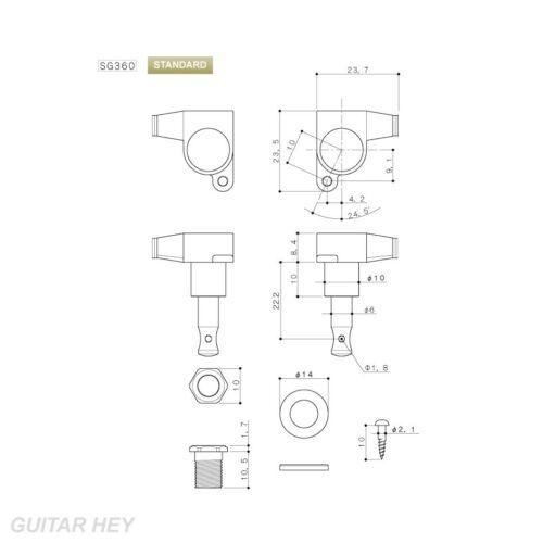 CHROME NEW Gotoh SG360-05P1 L3+R3 Mini Tuning Keys w// OVAL PEARLOID Set 3x3
