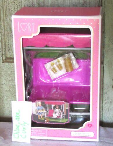 "6/"" Mini Lori Doll Dollhouse Furniture Garden Patio Set Pink Swing /& Tea NEW"