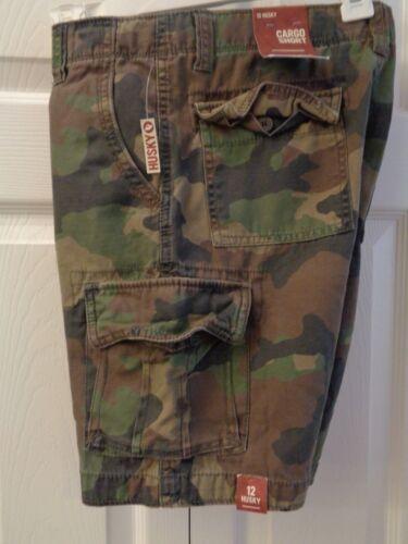 Boys/' Husky Arizona Camo Camouflage Cargo Shorts Green or Gray Adj Waist Cotton