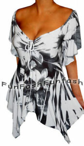 UT3 FUNFASH WHITE BLACK EMPIRE WAIST SLIMMING NEW TOP SHIRT Plus Size 2X 22 24