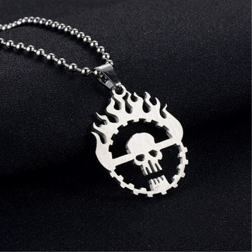 Personality Flame Skull Silver Stainless Steel Titanium Pendant Necklace  W20