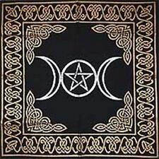Altar Tarot Cloth Triple Moon Goddess Pentagram Pentacle Gold Silver Black 24x24
