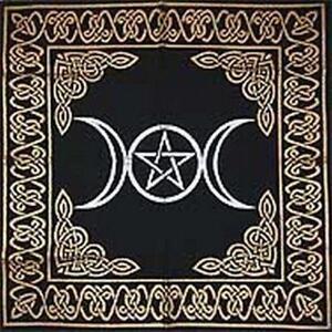 Altar-Tarot-Cloth-Triple-Goddess-With-Pentagram-24-034-x-24-034-Gold-Silver-on