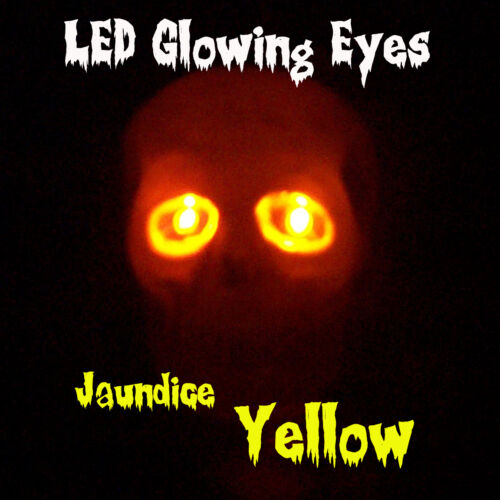 LARGE 10mm LED GLOWING EYES HALLOWEEN YELLOW 9 VOLT 12 inch wires