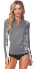 Rip Curl Women's Rashguard Trestles Front Zip Long Sleeve 50+ UV Protection CHA
