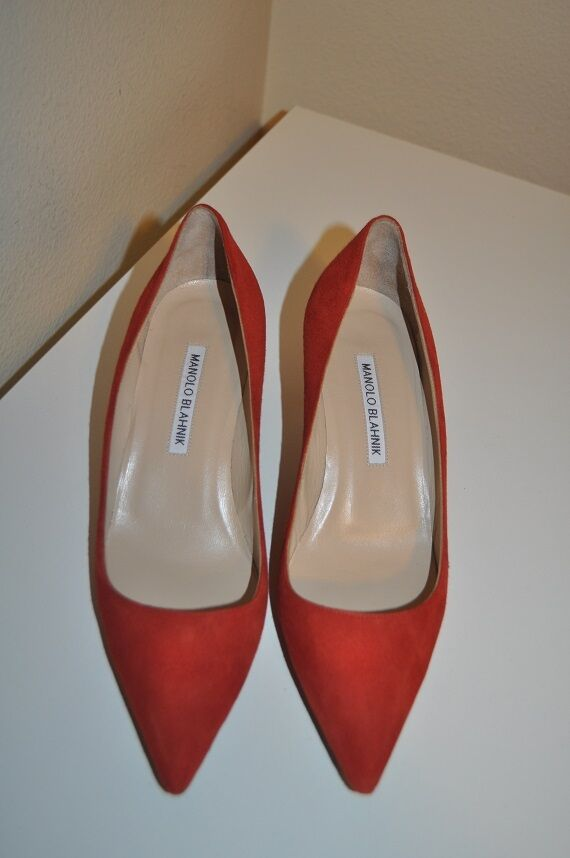 595+ Manolo Blahnik BB 50  Suede Pointed Pointed Pointed Toe Pump Classic shoes 37.5 - 7.5 be3cb5