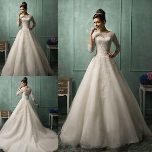 Amelia Sposa Lace 3/4 Long Sleeve A Line Wedding Dresses Church ...