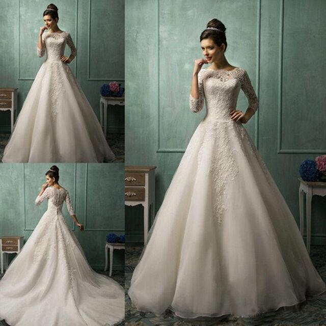Hot Princess A Line Wedding Dresses 3/4 Long Sleeve Lace Church ...
