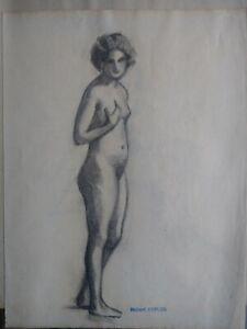 Robert-DUFLOS-Dessin-ancien-fusain-etude-6-femme-nue-cachet-Erotique-1920-30