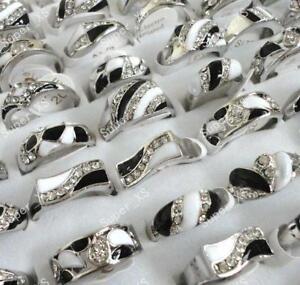 5pcs-black-amp-white-enamel-amp-rhinestone-rings-wholesale-jewelry-free-shipping