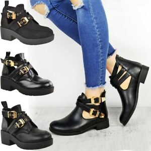 new style c2755 38f02 Details about Womens Ladies Ankle Boots Chelsea Cut Out Buckle Mid Strappy  Low Heel Shoes Size
