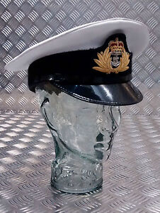 Genuine-British-Royal-Navy-Officers-CPO-PO-Peaked-Dress-Cap-Hat-All-sizes